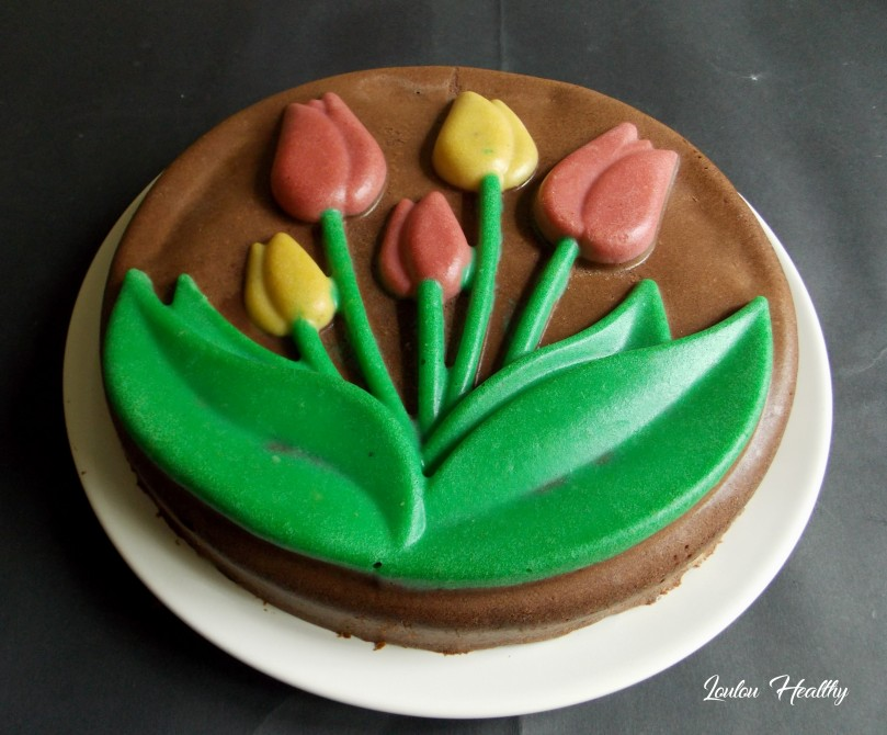 cheese cake tulipe au cacao fourré caroube, noix de pécan