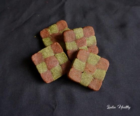 damiers aux noisettes et potiron rose et vert