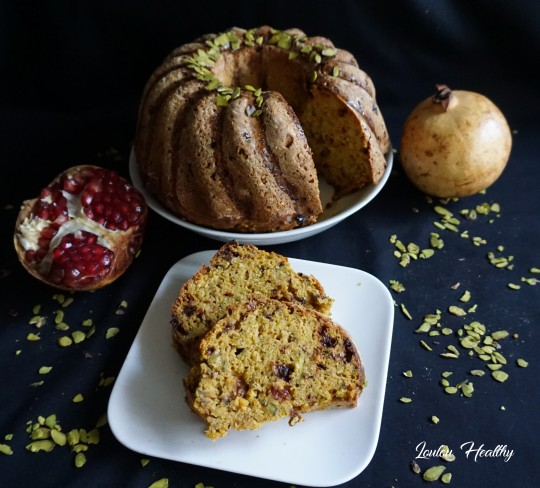 cake au potiron, pistaches et grenade2