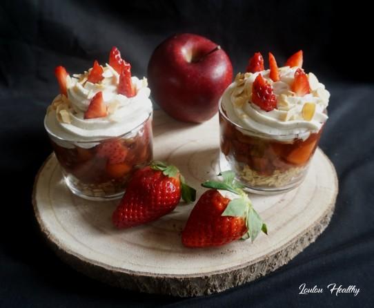 verrines céréales, pommes, fraises2