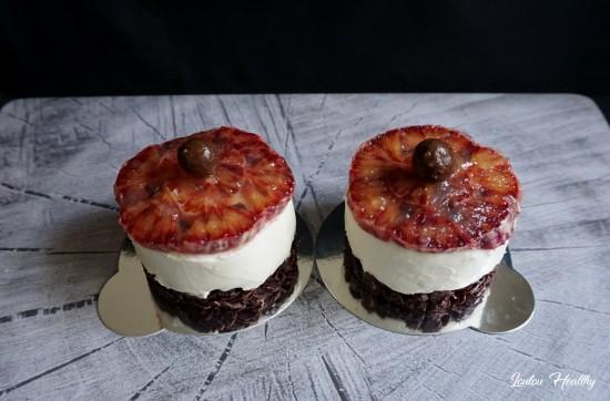 cheesecake orange sanguine sur croquant amande-chocolat