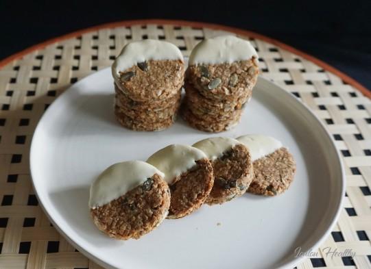 palets aux céréales, graines de courge et chocolat blanc