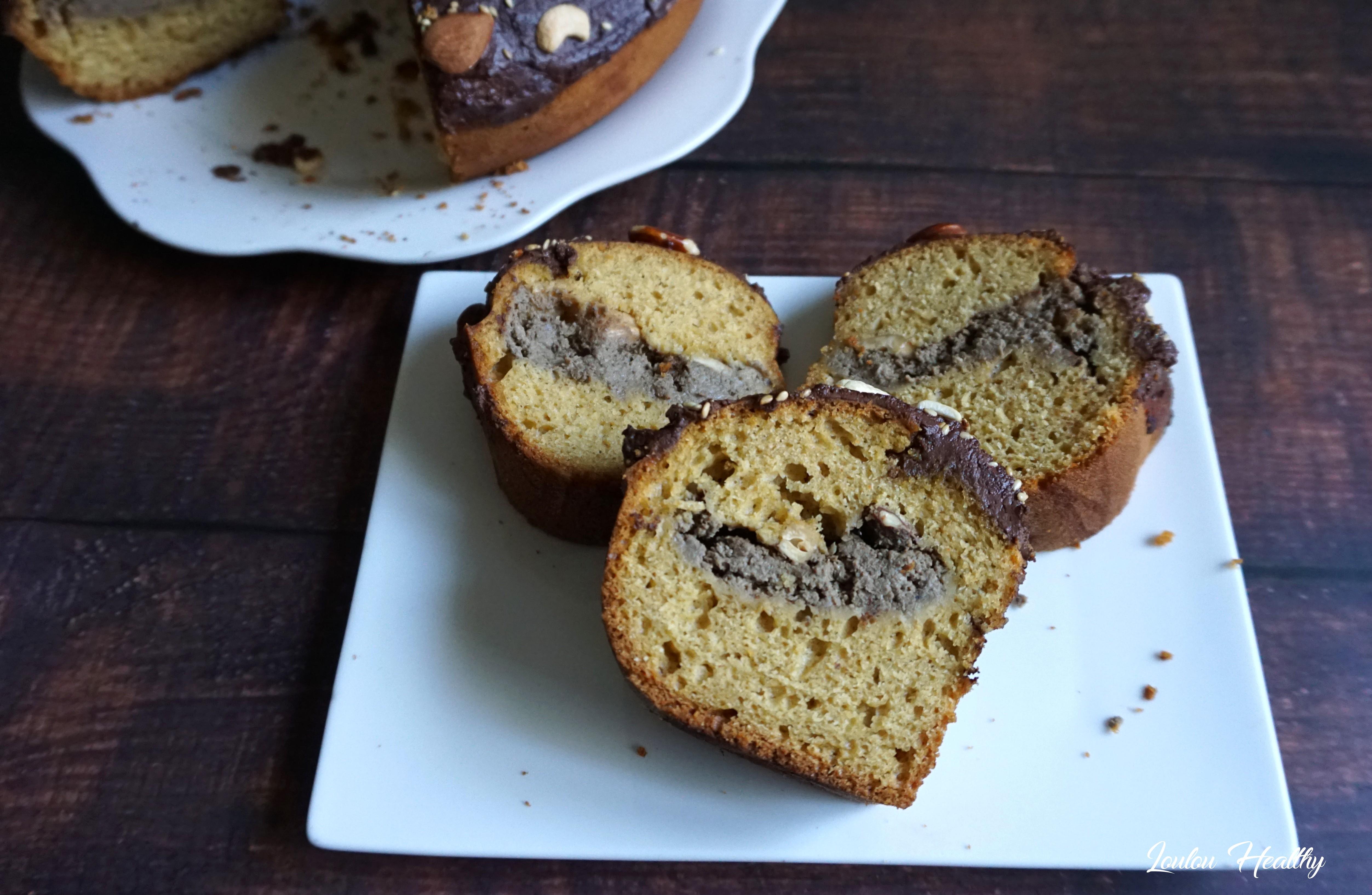 cake sésame, amande, cajou, chocolat