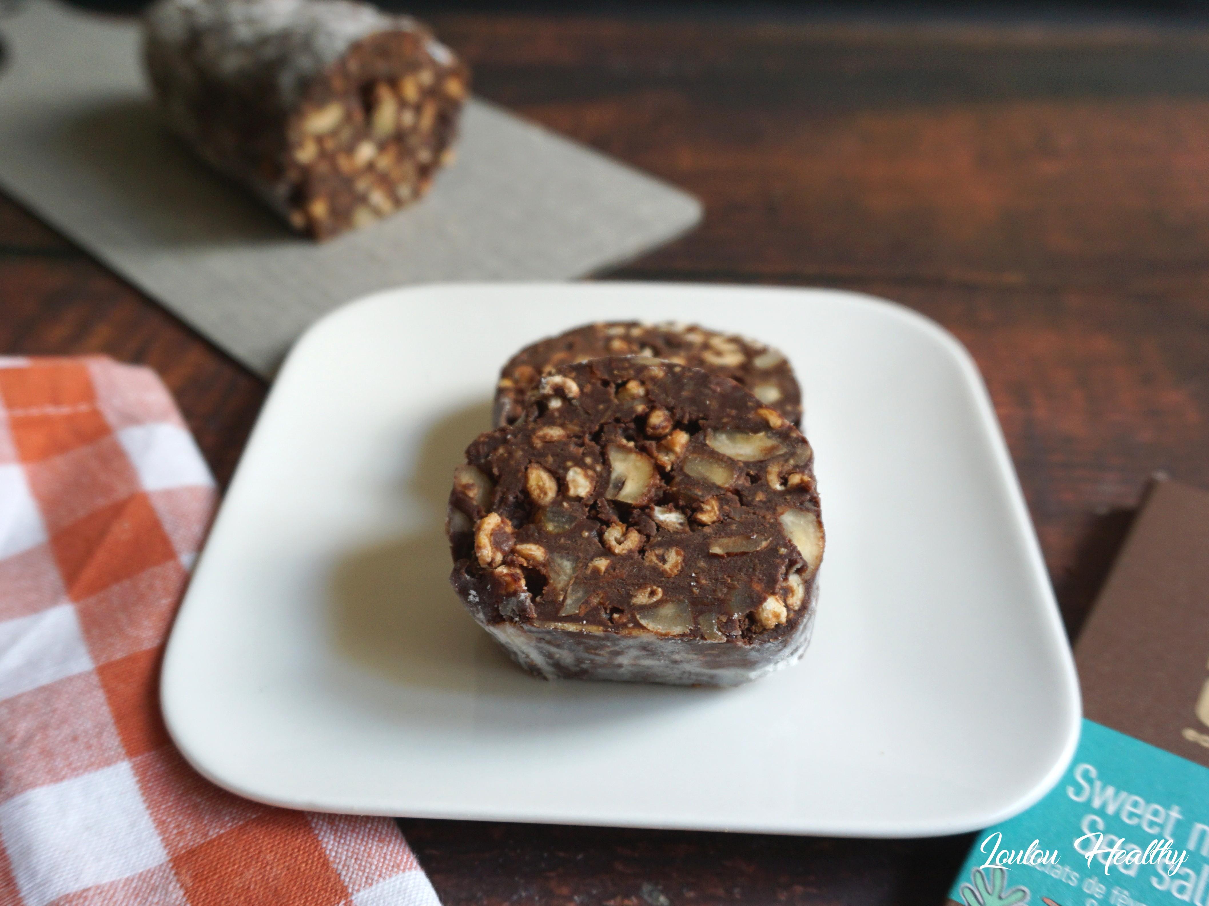 salami chocoat sel marin, céréales et noisette